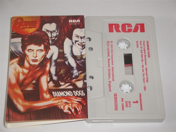 David Bowie - Diamond Dogs - INTK5068 Cassette Tape White Shell Red Text