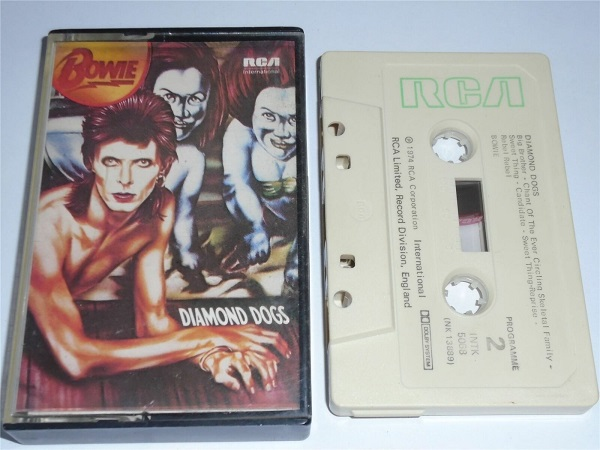 David Bowie - Diamond Dogs - INTK5068 Cassette Tape White Shell Green Text
