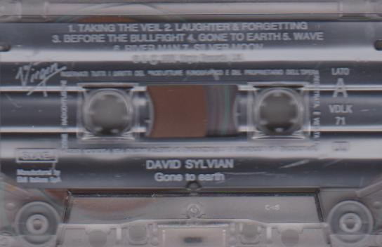 David Sylvian Gone To Earth Clear Italy Cassette