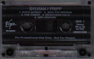 David Sylvian & Robert Fripp The First Day Promo US Cassette