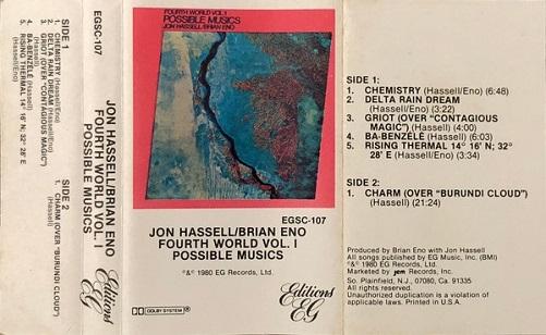 Jon Hassell / Brian Eno Fourth World Vol. 1 - Possible Musics US Cassette
