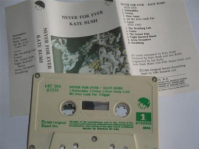 Kate Bush - Never For Ever Cassette Tape Cream Shell Green Text Greece