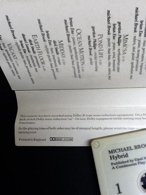 Michael Brook With Brian Eno & Daniel Lanois Hybrid UK Cassette