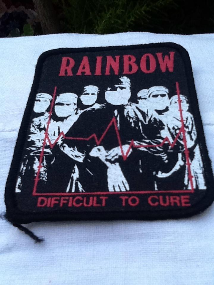 Rainbow Difficult to Cure Printed Patch with Red Embossed Lettering